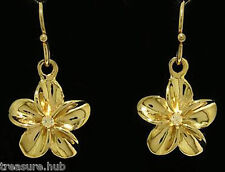 E050- Real SOLID 9ct Gold Genuine Natural Diamond Frangipani Drop Earrings