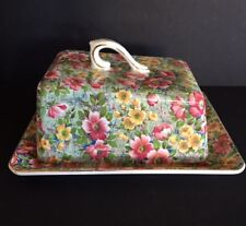"Lord Nelson Chintz ""Briar Rose""  Covered Cheese or Butter Dish ! ~RARE~"