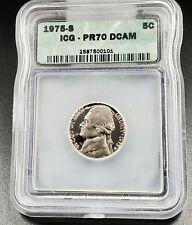 1975 S Jefferson Nickel Coin Vintage ICG PR70 DCAM Deep Cameo Gem Cameo Proof