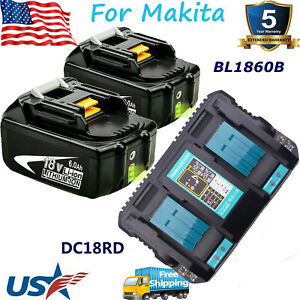 BL1860B For Makita 18V 6.0Ah Lithium ion LXT BL1830 BL1850 Charger or Battery US