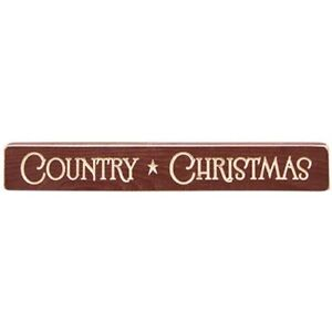 """""""COUNTRY CHRISTMAS"""" Rustic Primitive Country Engraved Wood sign DISTRESSED Red"""