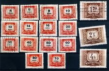 Part set of seventeen 1965 Issue Hungary Postage Due Stamps used