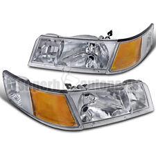1998-2002 Mercury Grand Marquis Clear Headlights w/ Corner Signal Lamps Chrome