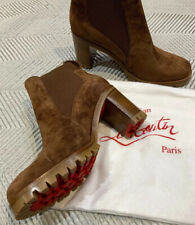 BNWT Christian Louboutin Chelsea Ankle Boots Suede Leather Brown UK 6 EU 39 1/2