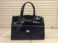 Ladies Black Genuine Patent Leather Bag - A4 size - Perfect Gift