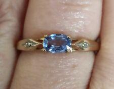 Natural cornflower blue Ceylon sapphire &  Diamond ring solid 9ct yellow gold