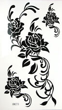 King Horse Big Black and White Roses Temporary Tattoos HM273 New Arrival!!