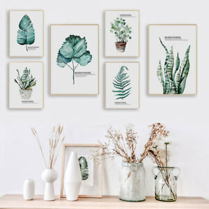 Green Plant Leaf Canvas Poster Nordic Botanical Art Print Wall Decor Picture
