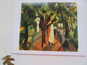 August Macke  Poster A Stroll on the Bridge-Offset Lithograph Unsigned 14x11