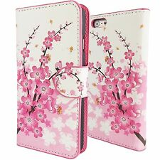 Cherry Blossom Pink & White Leather Wallet Case iPhone 7 PLUS Card Cash Cover