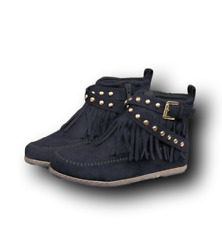 Womens Pull on Flat Heels Zipper Rivets Buckle strap Ankle Boots Moccasins Shoes