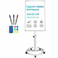 Mobile Whiteboard – 90 x 60 cm Portable Magnetic Dry Erase Board Stand Easel
