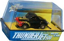 Willys Gasser Johnny Lightning ThunderJet Tuff Ones Ho Slotcar Black with Flames