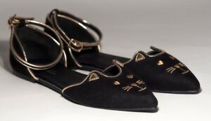 ASOS cat face black ankle strap pointed toe ballet flats pointy shoe kitty 7 40