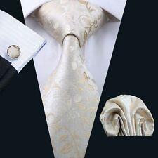 Creme Beige Paisley Seide Krawatte Set Einstecktuch Knöpfe Breit Hochzeit K327