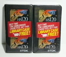 Lot Of 2 TDK 8MM HS120 Video Cassette Plus Free Library Case NEW SEALED