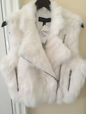 Adrienne Landau White Rabbit Fur Vest Medium New With Tags