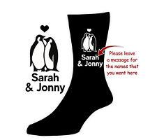 Personalised SOCKS Husband Wife Girlfriend Boyfriend Penguin Valentine Xmas Gift