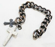 RARE MID CENTURY MODERN CHAIN LINK BRACELET w 2 CROSSES STAINLESS OVER BRASS