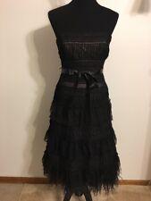 BCBG Maxaziria Woman's Strapless Black Lace Feathers Tiered Ruffles Size 4 New