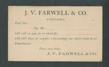 Ca 1886 Chicago IL J W Farwell & Co Salesmans Calling Card Mint
