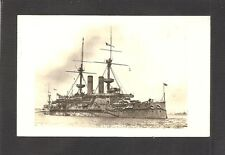 REAL-PHOTO POSTCARD:  H.M.S. EMPRESS OF INDIA - BRITISH NAVY Pre-WW-1 BATTLESHIP