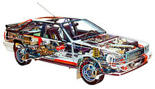 Audi Quattro Rally Cutout XXL Over 1 Meter Wide 1 Piece Glossy Poster Art Print!