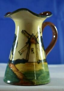 """Antique EARLY Torquay Pottery PITCHER WINDMILL Scene 4"""" EMBOSSED Marking EXC $10"""