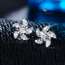 Cz crystal windmill earrings stud cute 18k white gold filled made with Swarovski