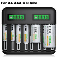 EBL 8-Slot LCD USB Battery Charger for AA AAA C D Size Rechargeable Batteries
