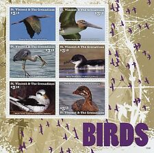 St Vincent & The Grenadines 2015 MNH Birds 6v M/S II Ibis Pelicans Grebes Herons