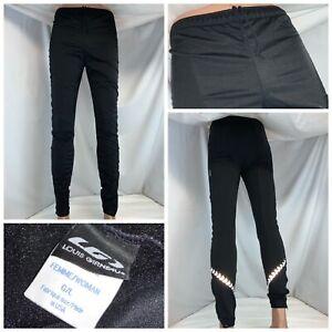 Louis Girneau Thermal Cycling Pants L Women Black Nylon Ankle Zip USA YGI K0-157