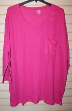 NEW OLD NAVY WOMENS PLUS SIZE 2X HOT PINK FUSCHIA KNIT TEE SHIRT TOP POCKET