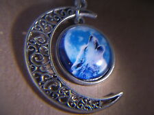 """Beautiful! WICCA - Howling Wolf & Half Moon pendant & 18"""" Necklace  """" NEW """""""