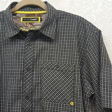 Men's Realtree Black Plaid Short Sleeve Button Front Casual Shirt - Large