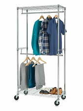 2-Shelf Hanging Garment Rack Laundry Clothes Organizer Wire Shelving with Caster