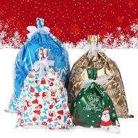 30pcs Christmas Gift Bags Sacks Stocking Santa Printed Packaging Xmas Treat Foil