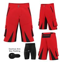 MTB Cycling Shorts (RED),Cycle,Mountain Bike,Off Road,CoolMax Padded Lycra Liner