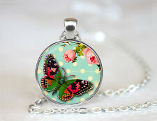 Vintage Butterfly Flowers Dome Tibetan silver Glass Chain Pendant Necklace