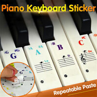 Removable Piano Keyboard Stickers for 88/61/49/54/37 Keys Note Transparent Decal