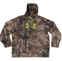 Men's Under Armour Hunting Camo Hoodie Sweatshirt Fleece 2XL Realtree NICE