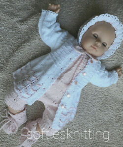 Hand knitted baby clothes / cardigan set 0-3 months / reborn 20''-22''outfit