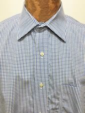 Brooks Brothers 16.5 34-35 Blue White Checked Long-Sleeve Cotton Shirt