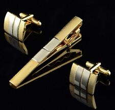 Yellow Gold Tone Cuff Links Tie Clip Bar Set Cufflinks Gift Idea For Men CTS01