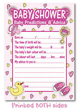 16 Prediction & Advice Baby Shower Game Cards Girls Pink party favours