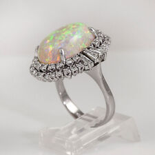 Fashion Wedding Rings for Women 925 Silver White Oval Cut Fire Opal Size 9