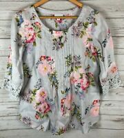 J. Jill Gray Pink Floral Pleated Front Crochet 3/4 Sleeve 100% Linen Top Small S