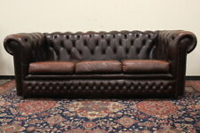 Divano Chesterfield Chester / inglese 3 posti colore marrone / pelle / leather