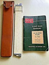 VINTAGE KEUFFEL & ESSER CO. NO. 4081 SLIDE RULE W/ LEATHER CARRY CASE & MANUAL