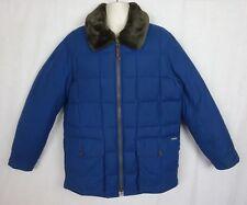 Eddie Bauer Yukon 1942 Down Jacket Parka ~ Removable Faux Fur Collar ~ Blue ~ L
